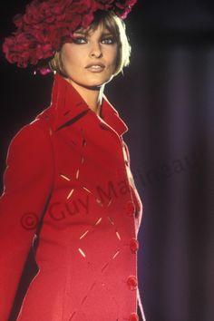 Yves Saint laurent – Page 2 – Guy Marineau Photography Linda Evangelista, Atelier Versace, Gianni Versace, Salvatore Ferragamo, Yves Saint Laurent, Backstage, Supermodels, High Neck Dress, Leather Jacket