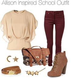 Teen Wolf - Allison Inspired School Outfit by stardustonthepiano featuring high heels Etro / Maison Martin Margiela , $145 / Dorothy Perkins high heels / HM , $23 / HM , $3.04 / Gold earrings / Chloé leather belt, $595