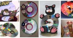 24 Ideas de cómo decorar cds reciclados y hacer lindos adornos con ellos Ideas, Flower Vases, Ornaments, Recycled Cds, Easy Diy, Wood Slices, Gods Eye, Snow, Crafts For Kids