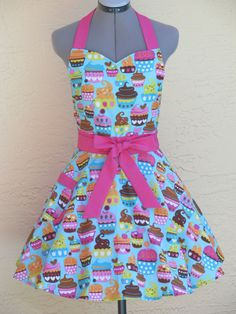 Sweetheart Hostess Cupcakes Apron on Blue  Full by AquamarCouture