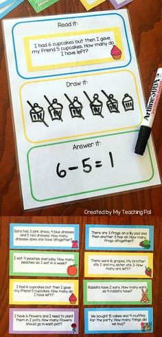 Math Word Problem Task Cards. Includes 80 different addition, subtraction, multiplication and division cards suited to kindergarten, first grade and second grade. Includes 3 word problem mat options.
