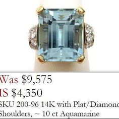 1950's Vintage Platinum and Gold Aquamarine with Diamonds  #knowyourjeweler #wearepreferred #shoplocal #antiquejewelry #movingsale  http://ift.tt/2og2rhX