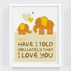 Personalized Baby Elephant Art Print for by mytinytotcreative, $15.00