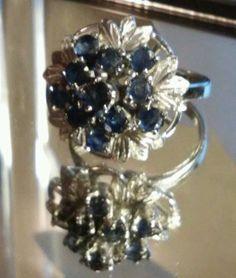 Vintage Estate Kasmir Blue Sapphire 925 Sterling Silver Ring, Size 7.5 #Cluster