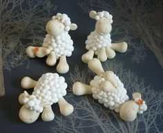Sheep wedding cake toppers - Girls