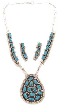 Navajo Indian Turquoise Link Necklace Earrings Set GS57598