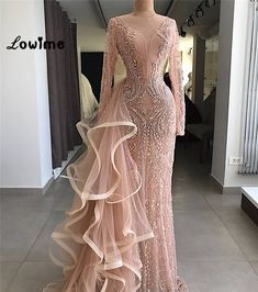 Cheap Evening Dresses, Buy Directly from China Suppliers:Couture Mermaid Formal Evening Dresses With Long Sleeves Handmade Beaded Crystal Tulle Illusion Party Gown For Weddings 2018 Long Sleeve Evening Gowns, Prom Dresses Long With Sleeves, Formal Evening Dresses, Elegant Dresses, Pretty Dresses, Dress Long, Gowns With Sleeves, Lace Dresses, Cheap Dresses