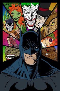 Batman & Villains by James Mascia. - Living life one comic book at a time. Batman Wallpaper, Batman Artwork, Dc Comics Art, Marvel Dc Comics, Nightwing, Batgirl, Comic Sans, Batman Universe, Dc Universe