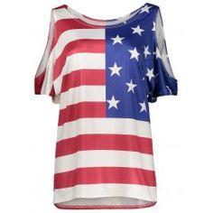 Plus Size Cold Shoulder Patriotic American Flag Print Top Plus Size Jumpers, Plus Size T Shirts, Plus Size Blouses, Trendy Plus Size, Plus Size Women, Cheap Tank Tops, Clothing Sites, Polyvore Outfits, Cold Shoulder