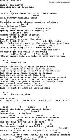 Bruce Springsteen song: Born To Run, lyrics and chords