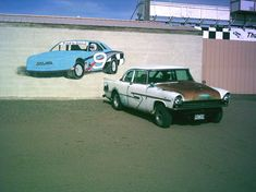 At Thunder Valley Speedway in Mosca, Colorado, next to a mural I painted. Plymouth Belvedere, Chrysler New Yorker, Roll Cage, Thunder, Transportation, Colorado, Inspired, Building, Car