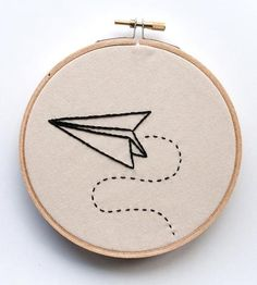 Paper Airplane Embroidered Wall Art by Kitsch and Stitch on Scoutmob Shoppe