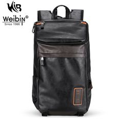 Weibin Men's Backpack Men PU Leather School backpacks For Teenagers 14 inch Laptop Bag Fashion Multi-pocket Travel Bags 2017 // FREE Worldwide Shipping! //     #hashtag3