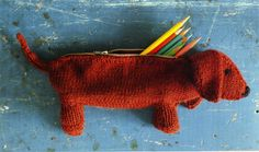 Daisy Dachshund Pencil Case by Mel Clark from her book Knitting EVERYDAY FINERY, available at Gather.