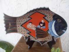 "Imari Nanban 紅毛 Dutch Large Sakana Fish Porcelain Charger 13""L x 8.25""W x 1 7/8""H by GuamAntiquesNstuff"
