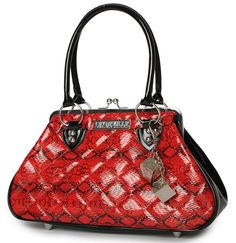 Sin City Kiss Lock Black and Red Snakeskin