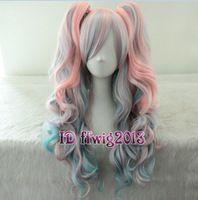 70 cm de comprimento misturado arco-íris Lolita clipe em rabo de cavalo peruca cosplay onda peruca + cap peruca