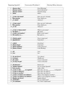 spanish worksheets for kindergarten | Free Spanish Learning ...