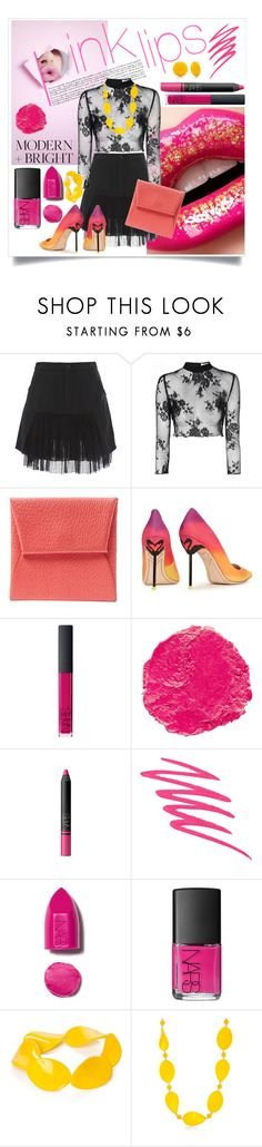 """""""Pink Lips"""" by captainsilly ❤ liked on Polyvore featuring Marissa Webb, Glamorous, Hermès, Sophia Webster, NARS Cosmetics and Kim Rogers"""