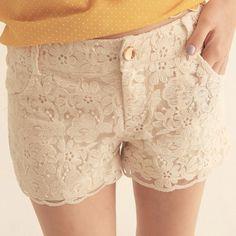 Lacy Cream Shorts