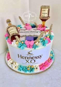 Related posts: owl birthday cake Hunters next birthday cake Pink Rose Chocolate Layer Cake Birthday cake # Alcohol Birthday Cake, 19th Birthday Cakes, Alcohol Cake, Adult Birthday Cakes, 25th Birthday, 21st Birthday Themes, Birthday Ideas, Hennesy Cake, Quinceanera