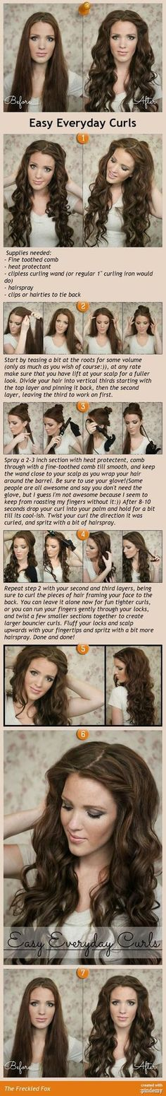Easy Everyday Curls tutorial. I love this for my long hair.