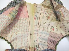 Jacket. 4th quarter, 18th century. Silk. MET. Interior detail. (I live the patch worked lining.)