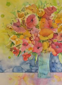 """"""" Aureole"""" represents happiness, a bouquet of fresh and vibrant colours. 37 x 45 cm on watercolour paper 300 grs. by Kira Mamontova. Watercolor Poppies, Watercolor Paper, Painting Styles, Vibrant Colors, Colours, Fashion Painting, Art Forms, Neko, Watercolors"""