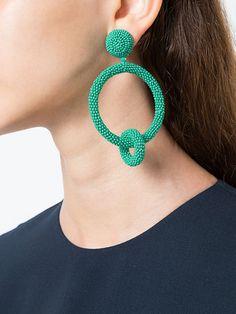 Shop Oscar de la Renta beaded double-hoop earrings