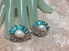 """Vintage 1 1/2"""" Goldtone clear green blue Rhinestone Faux Pearl Pierced Earrings #Nomaker #PiercedEarrings"""