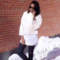 Aujourd'hui notre coup de coeur #lookdujour vient de @taaabitha avec sa superposition chemise  tricot hyper tendance!  Tu veux toi aussi te retrouver en vedette sur l'accueil du site? Utilise le tag @lookdujour_ca avec le #lookdujour   #lookdujour #ldj #layers #comfy #auchaud #winter #ootd #cute #modemtl #style #streetstyle #pretty #outfitideas #cestbeau #inspiration #onaime #regram  @taaabitha