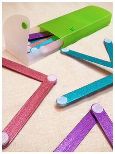 "@KatieSheaDesign ♥ --> Velcro ""Glitter"" Craft Sticks. Good idea for 4/5's @Marti Roelofsz"