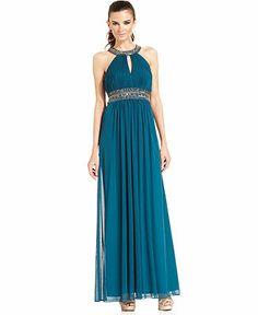 Xscape Dress, Sleeveless Jewel-Trim Pleated Halter Gown - Dresses - Women - Macy's