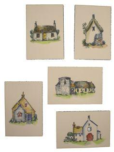Country House post cards by mietakase  / drawings & water-colored originally