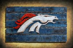 Denver Broncos Handmade distressed wood sign, vintage, art, weathered, recycled, Colorado, home decor, Wall art, Man Cave, Blue, superbowl