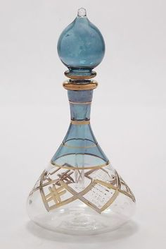 Egyptian hand blown glass perfume bottle, beautiful