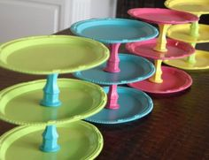 These colorful cake stands are DIY!  @Kimber Begano for your cup cakes!