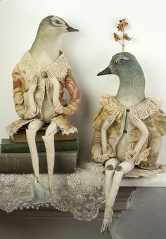 PANTOVOLA handmade textile bird art dolls Made with vintage and upcycled fabrics Textile Sculpture, Soft Sculpture, Sculptures, Bird Sculpture, Fabric Dolls, Fabric Art, Stuffed Animals, Textiles, Textile Artists