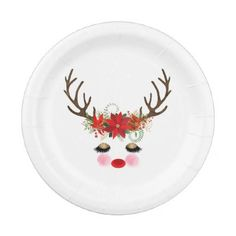 Rosy Cheeks Gold Eyes Floral Reindeer Holiday Paper Plate - rustic gifts ideas customize personalize