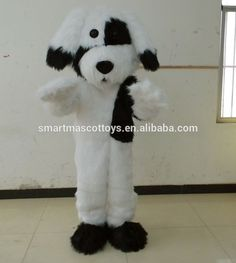 Fit adults 4'5''-6'4'' black & white dog mascot costume for adults #For_Dogs, #Costumes