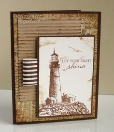 Lighthouse card - love the touch of corrugated paper in the background.