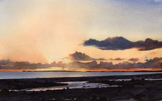 Mouth of the Dwyfor, an original watercolour painting by Rob Piercy