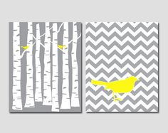 Set of 2 Prints - Gray Forest and Gray Chevron Pattern with Yellow Birds - 8x10 art prints. $33.00, via Etsy.