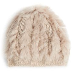 Annabelle New York Bobbo Fur-Trimmed Knit Beret ($17) ❤ liked on Polyvore featuring accessories, hats, beanies, bonnet, chocolate, knit beanie hat, knit cap beanie, knit beret hat, beanie beret and knit beret