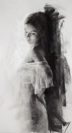 Vicente Romero Redondo, standing beautiful female charcoal drawing, 2014–2015. vicenteromero.wordpress.com