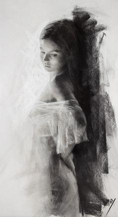 Vicente Romero Redondo, standing beautiful female charcoal drawing, 2014–2015. vicenteromero.wordpress.com