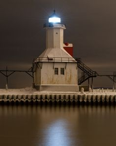 St. Joseph's lighthouse, Michigan, encased in ice