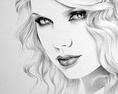 Taylor Swift  Pencil Drawing Fine Art Portrait Glamour Beauty  Print Signed by Artist