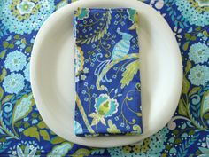 Periwinkle Aqua Lime Cloth Napkins 4 with by ItsHandmadebyArianne, $28.00