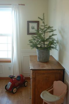 Simple Christmas tree in a galvanized bucket.